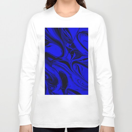 Black and Blue Swirl - Abstract, blue and black mixed paint pattern texture Long Sleeve T-shirt
