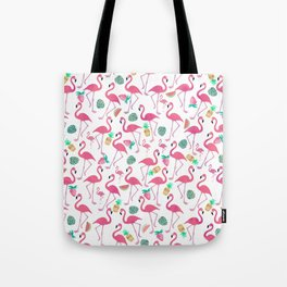 Tropical pink watercolor flamingo sweet summer fruit pattern Tote Bag