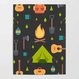 Camping Themed Pattern Poster