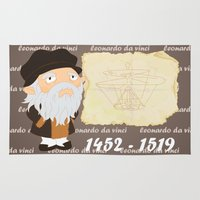 da vinci Area & Throw Rugs featuring Leonardo da Vinci by Alapapaju