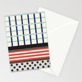 Mixed Patterns Red Navy Stationery Cards