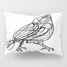 Cute Little Bird - Chin Up -  Jackson Pollock Style  Drawing by OLena Art Pillow Sham
