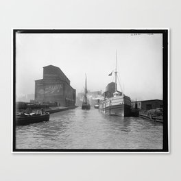 South Branch of the Chicago River at 14th Street 1900 Canvas Print
