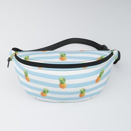Pineapple, blue stripes, Summer Poster, Pineapple pattern Fanny Pack