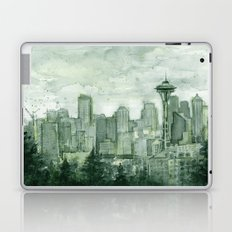 Seattle Skyline Watercolor Space Needle Emerald City 12th Man Art Laptop & iPad Skin