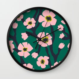 Pink Blooms Everywhere No 01 (square) Wall Clock