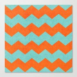 chevron - teal and orange Canvas Print