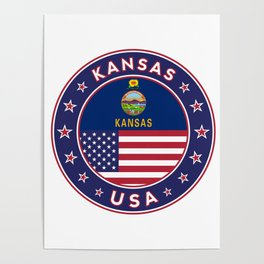 Kansas, Kansas t-shirt, Kansas sticker, circle, Kansas flag, white bg Poster