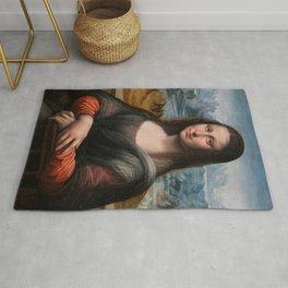 """Mona Lisa No. 2, """"Prado"""" version portrait painting by Leonardo da Vinci Rug"""