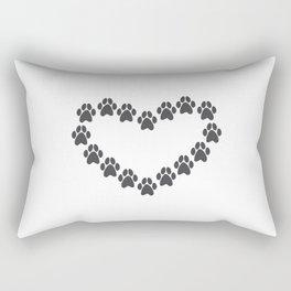 Paw Prints Heart Rectangular Pillow