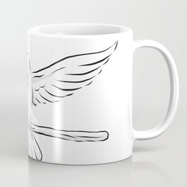 Soaring Dove Clutching Staff Front Drawing Coffee Mug
