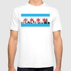 New Chicago Flag White MEDIUM Mens Fitted Tee