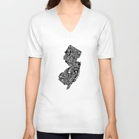 new jersey V-neck T-shirts featuring Typographic New Jersey by CAPow!