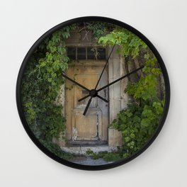 Provence Door covered with green vines Wall Clock