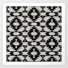Black and neutral brushed tribal kilim pattern Art Print