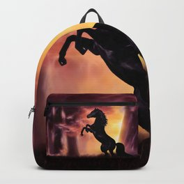 Rearing black horse at sunset Backpack