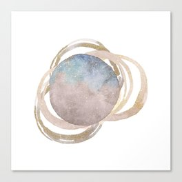Abstract Circles Fake Glitter WatercolorSpace Design Canvas Print