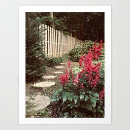 Tall Red Flowers & Path Art Print