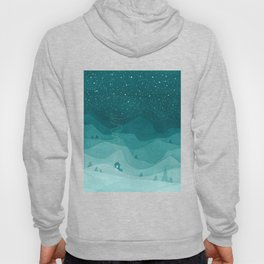 Stars factory, teal mountains house watercolor landscape Hoody