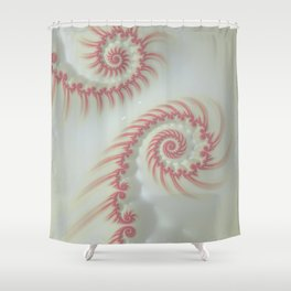 Candy Cane Swirl Pastel - Fractal Art Shower Curtain