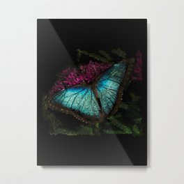 metallic blue butterfly - 118 Metal Print