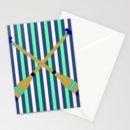 Boat Oars On Stripes Stationery Cards