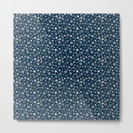 Blue & White Christmas Snowflakes Metal Print