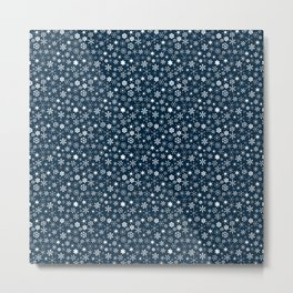 Blue & White Christmas Snowflakes Metal Print