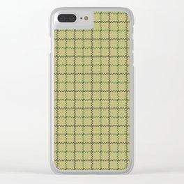 Fern Green & Sludge Grey Tattersall on Wheat Beige Background Clear iPhone Case