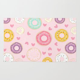 hearts and donuts pink Rug
