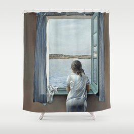 Salvador Dali Young Woman at a Window 1925 Artwork for Wall Art, Prints, Posters, Tshirts, Mwn, Women, Youth Shower Curtain