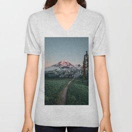 Mt. Baker Sunset Unisex V-Neck