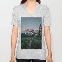 Mt. Baker Sunset Unisex V-Neck