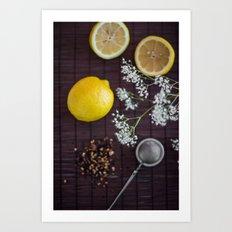 Lemon and tea Art Print