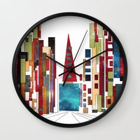buildings Wall Clocks featuring Buildings by March Hunger