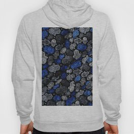 13 - Blue Vintage Bohemian Traditional Zoco Moroccan Artwork. Hoody