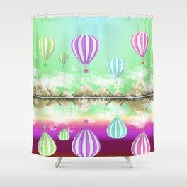 Pastel Hot Air Balloons Over Lake Digital Drawing Shower Curtain