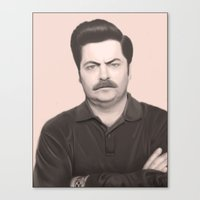 ron swanson Canvas Prints featuring Ron Swanson by Alexia Rose