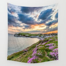 Freshwater Bay Sea Thrift Sunset (V) Wall Tapestry