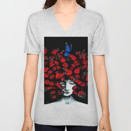 Great Expectations - Female form Head full of Monarch Butterflies portrait painting Unisex V-Neck