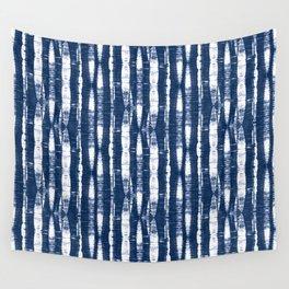 Shibori Stripes Indigo Blue Wall Tapestry