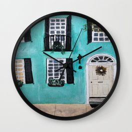 Charleston Rainbow Row House Wall Clock
