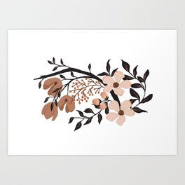Nude Flowers - White Art Print
