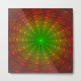 Abstract Tunnel, Fractal From Red To Green Metal Print