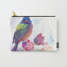 Male Painted Bunting with tulips, watercolor painting Carry-All Pouch