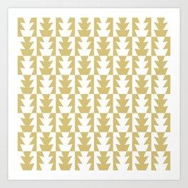 Art Deco Jagged Edge Pattern Gold Art Print