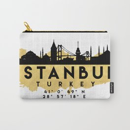 ISTANBUL TURKEY SILHOUETTE SKYLINE MAP ART Carry-All Pouch