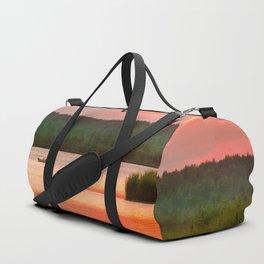 Summer sunset on Wild lake Duffle Bag