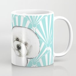 Bichon Frise at the beach / seashell blue Coffee Mug