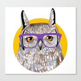 Smart Owl Glasses Portrait Canvas Print